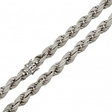Wholesale Sterling Silver 925 Rhodium Plated CZ Encrusted Rope Chains 11mm - CHCZ101 RH