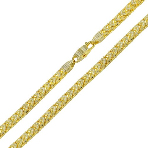 Wholesale Sterling Silver 925 Gold Plated CZ Encrusted Franco Chains 5mm - CHCZ102 GP