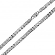 Wholesale Sterling Silver 925 Rhodium Plated CZ Encrusted Franco Chains 5mm - CHCZ102 RH