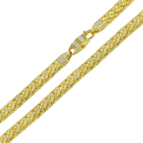 Wholesale Sterling Silver 925 Gold Plated CZ Encrusted Franco Chains 7mm - CHCZ103 GP