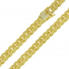 Wholesale Sterling Silver 925 Gold Plated CZ Encrusted Curb Chains 11.7mm - CHCZ104 GP