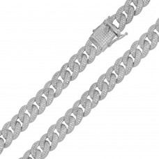 Wholesale Sterling Silver 925 Rhodium Plated CZ Encrusted Curb Chains 11.7mm - CHCZ104 RH