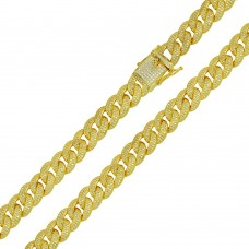 Wholesale Sterling Silver 925 Gold Plated CZ Encrusted Curb Chains 8.9mm - CHCZ105 GP