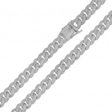 Wholesale Sterling Silver 925 Rhodium Plated CZ Encrusted Curb Chains 8.9mm - CHCZ105 RH