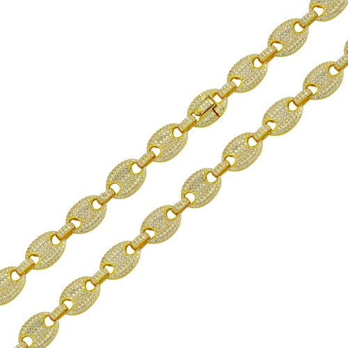 Wholesale Sterling Silver 925 Gold Plated CZ Encrusted Oval Link Chains 11.8mm - CHCZ106 GP