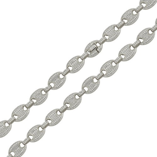 Wholesale Sterling Silver 925 Rhodium Plated CZ Encrusted Oval Link Chains 11.8mm - CHCZ106 RH
