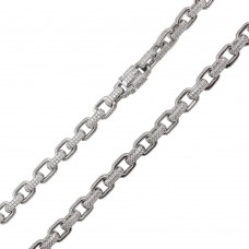 Wholesale Sterling Silver 925 Rhodium Plated CZ Encrusted Micro Pave Link Chains 8.9mm - CHCZ107 RH