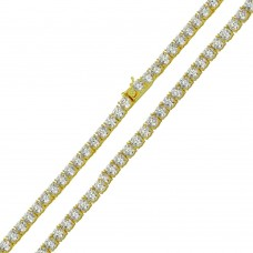 Wholesale Sterling Silver 925 Gold Plated Round CZ Link Chains 4mm - CHCZ108 GP