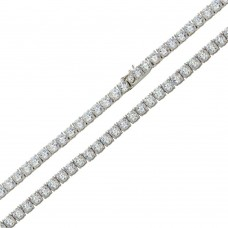 Wholesale Sterling Silver 925 Rhodium Plated Round CZ Link Chains 4mm - CHCZ108 RH