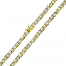 Wholesale Sterling Silver 925 Gold Plated Round CZ Link Chains 5mm - CHCZ109 GP