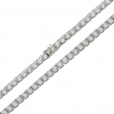 Wholesale Sterling Silver 925 Rhodium Plated Round CZ Link Chains 5mm - CHCZ109 RH