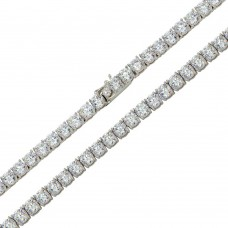 Wholesale Sterling Silver 925 Rhodium Plated Round CZ Link Chains 6mm - CHCZ110 RH