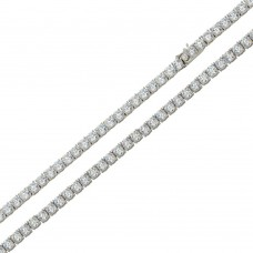 Wholesale Sterling Silver 925 Rhodium Plated Round CZ Link Chains 3mm - CHCZ115 RH