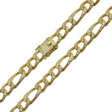 Wholesale Sterling Silver 925 Gold Plated CZ Encrusted Figaro Chains 8.2mm - CHCZ112 GP