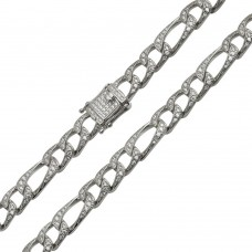 Wholesale Sterling Silver 925 Rhodium Plated CZ Encrusted Figaro Chains 8.2mm - CHCZ112 RH