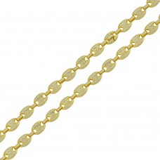 Wholesale Sterling Silver 925 Gold Plated CZ Encrusted Oval Link Chains 8mm - CHCZ113 GP