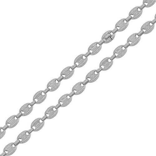 Wholesale Sterling Silver 925 Rhodium Plated CZ Encrusted Oval Link Chains 8mm - CHCZ113 RH