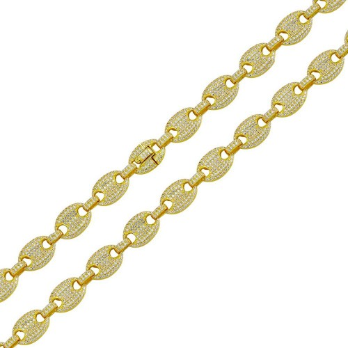 Wholesale Sterling Silver 925 Gold Plated CZ Encrusted Oval Link Chains 10.5mm - CHCZ114 GP