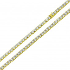 Wholesale Sterling Silver 925 Gold Plated Round CZ Link Chains 3mm - CHCZ115 RH