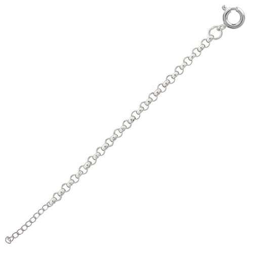 Wholesale Sterling Silver 925 High Polished Round Rolo 030 Anklets 1.95mm - CHA703