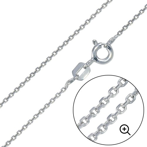 Wholesale Sterling Silver 925 Rhodium Plated Diamond Cut Cable Rolo 035 Chains 1mm - CH221 RH