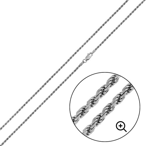 Wholesale Sterling Silver 925 Rhodium Plated Rope 025 Chain 1.1mm - CH301 RH