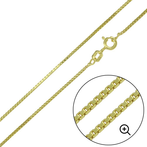 Wholesale Sterling Silver 925 Gold Plated Box Chains 0.9mm - CH346 GP