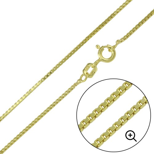 Wholesale Sterling Silver 925  Gold Plated Box Chains 1.0mm - CH347 GP