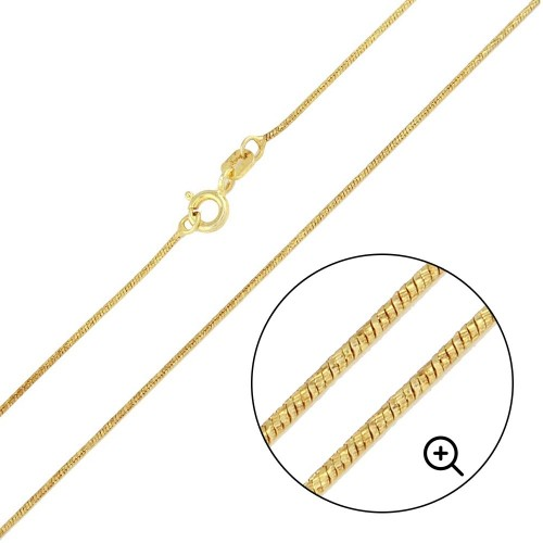 Wholesale Sterling Silver 925 Gold Plated Slash Round Snake Chain 0.8mm - CH349 GP