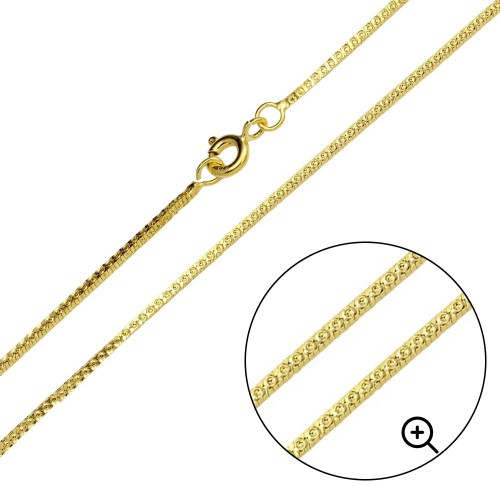 Wholesale Sterling Silver 925 Gold Plated Square Sided Snake 025 Chain 1mm - CH352 GP