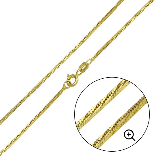 Wholesale Sterling Silver 925 Gold Plated Snake 4 Sided DC Chain 1mm - CH355 GP