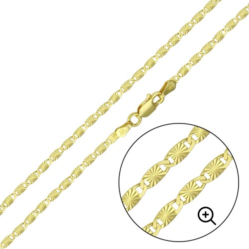 Wholesale Sterling Silver 925 Gold Plated Star 1 Sided DC Confetti Chain 2.5mm - CH359 GP