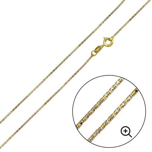 Wholesale Sterling Silver 925 Gold Plated Round Snake DC Chain 0.8mm - CH361 GP