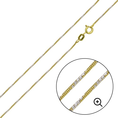 Wholesale Sterling Silver 925 Gold Plated Snake Round 4DC Chain 1.2mm - CH365 GP