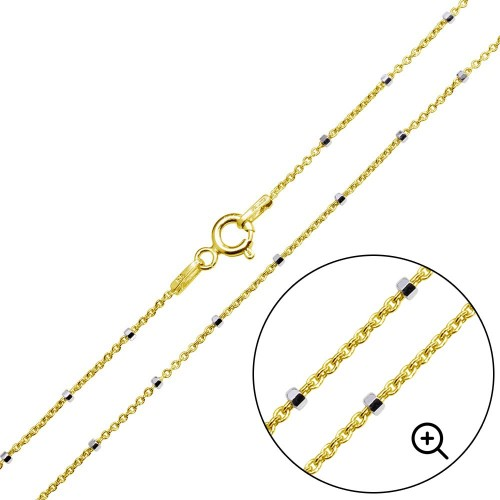 Wholesale Sterling Silver 925 Gold Plated Diamond Cut Beaded Chains 1.4mm - CH379 GP