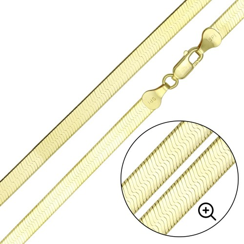 Wholesale Sterling Silver 925 Gold Plated Herring Bone 060 Chain 5.5mm - CH384 GP