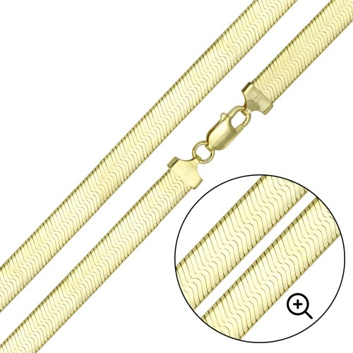 Wholesale Sterling Silver 925 Gold Plated Herring Bone Chain 6.7mm - CH385 GP