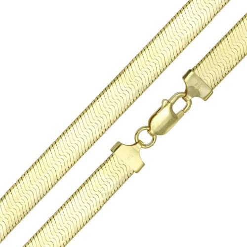 Wholesale Sterling Silver 925 Gold Plated Herring Bone Chain 9.6mm - CH387 GP