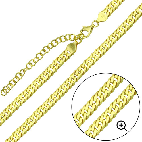 Wholesale Sterling Silver 925 Gold Plated Miami Cuban Chain Link with Extension 6.5mm - CH478 GP