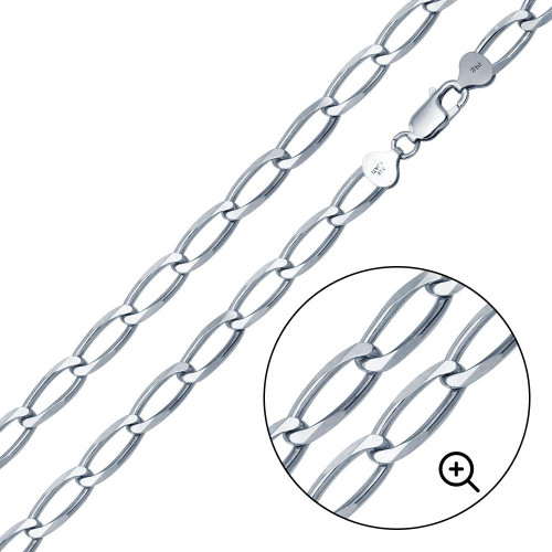 Wholesale Sterling Silver 925 Platinum Plated Open Link Six Sided Diamond Cut - CH479 PL