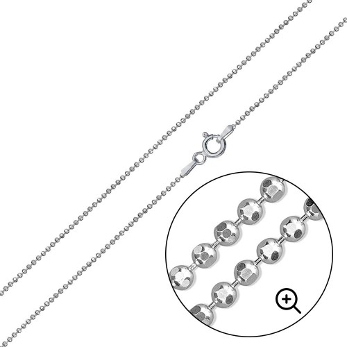 Wholesale Sterling Silver 925 Diamond Cut Bead 100 Chains 1mm - CH500