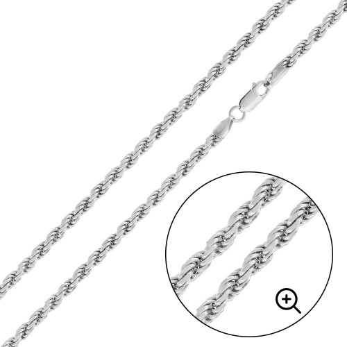 Wholesale Sterling Silver 925 High Polished Rope 080 Chain 3.7mm - CH528