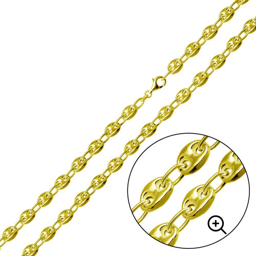 Wholesale Sterling Silver 925 Gold Plated Puffed Mariner Chain 7mm - CH537 GP