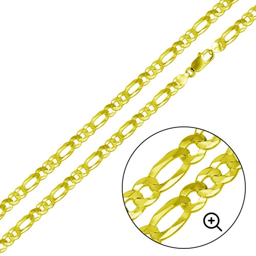 Wholesale Sterling Silver 925 Gold Plated Super Flat Figaro Chain 6.5mm - CH607 GP