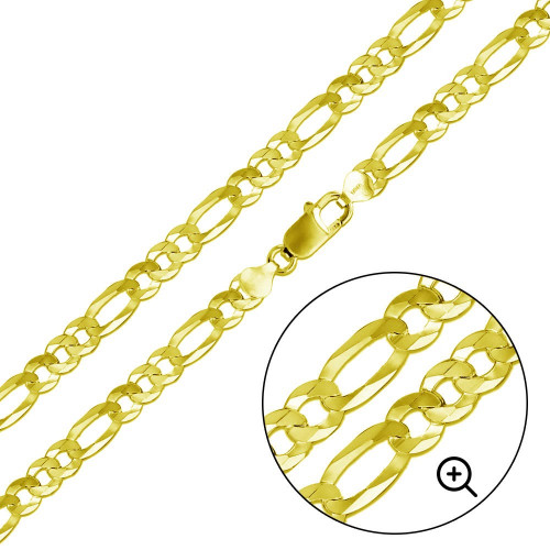 Wholesale Sterling Silver 925 Gold Plated Super Flat Figaro Chain 9.5mm - CH609 GP