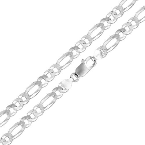 Wholesale Sterling Silver 925 High Polished Super Flat Figaro 250 Chain  10mm - CH610