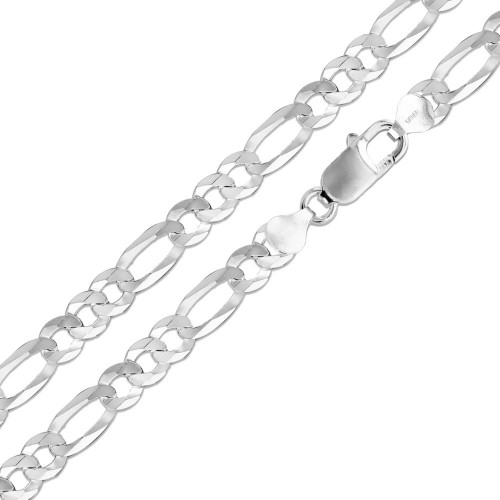Wholesale Sterling Silver 925 High Polished Super Flat Figaro 300 Chain 11.9mm - CH611