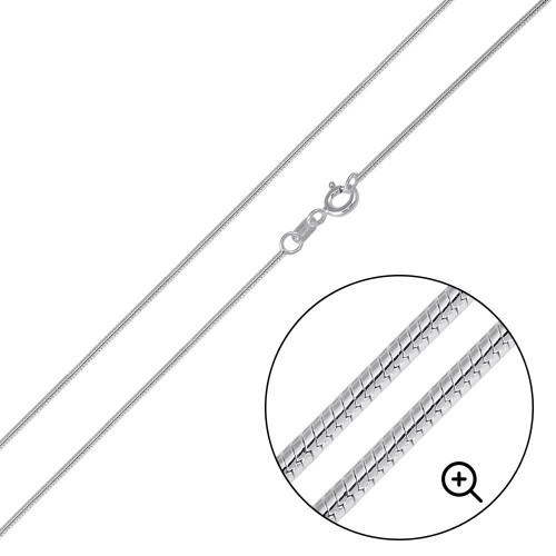 Wholesale Sterling Silver 925 High Polished Round Snake 015 Chain 0.8mm - CH728