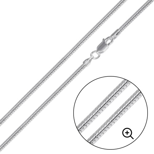 Wholesale Sterling Silver 925 High Polished Round Snake 050 Chain 2mm - CH732
