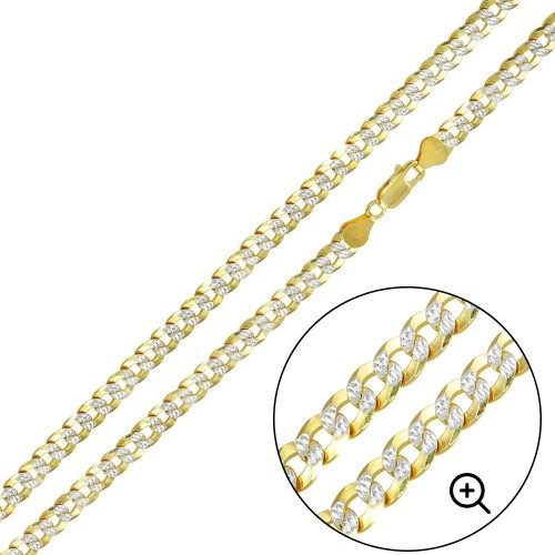 Wholesale Sterling Silver 925 Gold Plated 2 Toned DC Curb Chain 5mm - CH933 GP